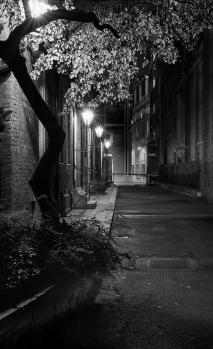 Gaslit London street