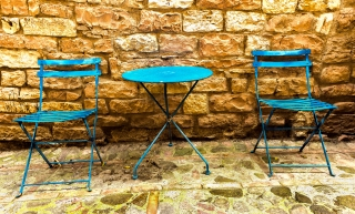 Table and Chairs of blue