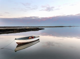 Brancaster boats at sunset