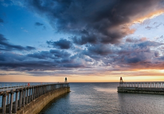 Whitby pier dawn